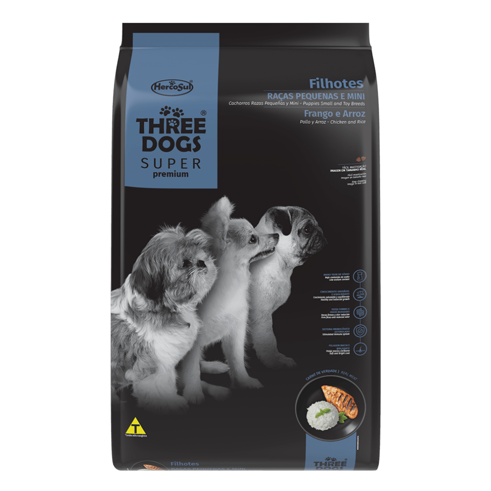Ração Hercosul Three Dogs Especial para Filhotes de Raças Pequenas e Mini