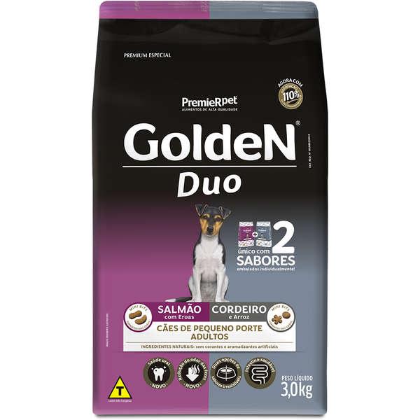Ração Premier Golden DUO Mini Bits Salmão e Cordeiro com Ervas e Arroz para Cães Adultos de Raças Pequenas - 3Kg