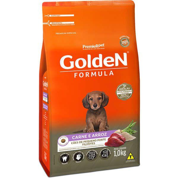 Ração Golden Formula Carne e Arroz para Cães Filhotes de Raças Pequenas