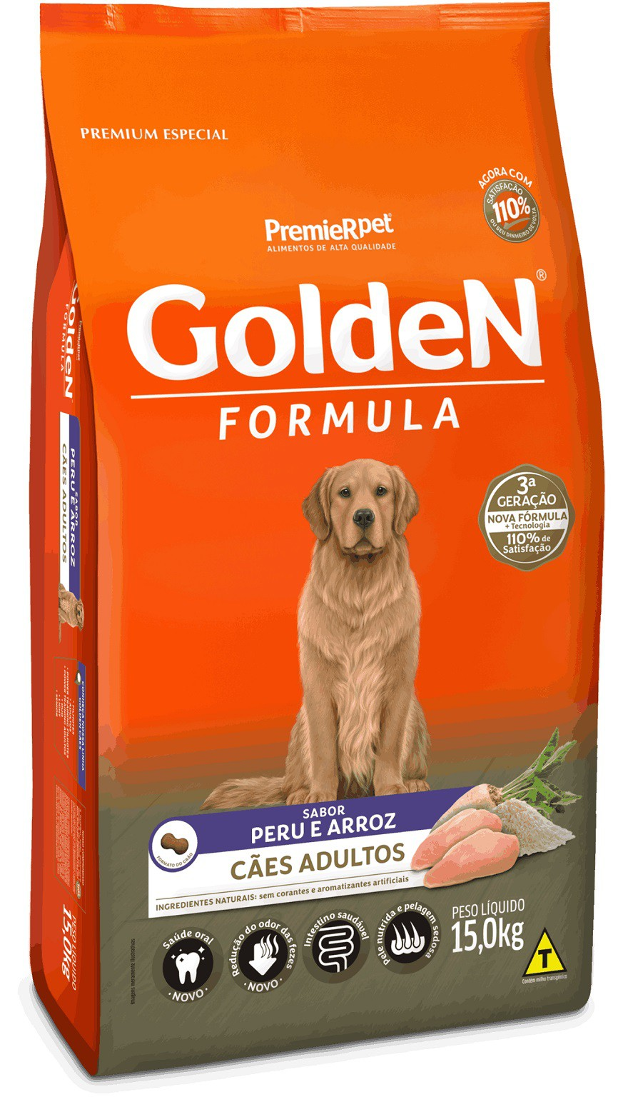 Ração Premier Golden Formula Peru e Arroz para Cães Adultos - 15 Kg