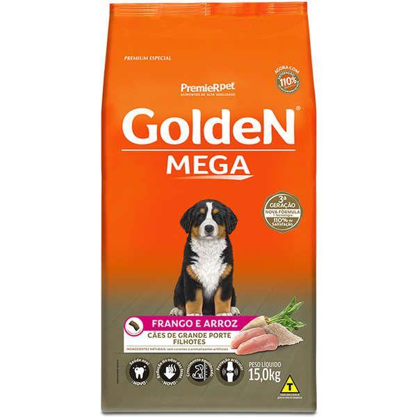 Ração Premier Golden Mega Frango e Arroz para Cães Filhotes de Raças Grandes - 15 kg