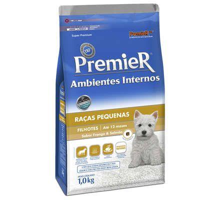 Ração Premier Pet Ambientes Internos Frango e Salmão para Cães Filhotes de Raças Pequenas
