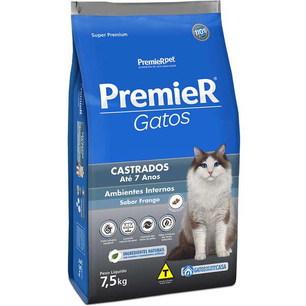 Ração Premier Pet Ambientes Internos Frango para Gatos Castrados de até 7 Anos de Idade