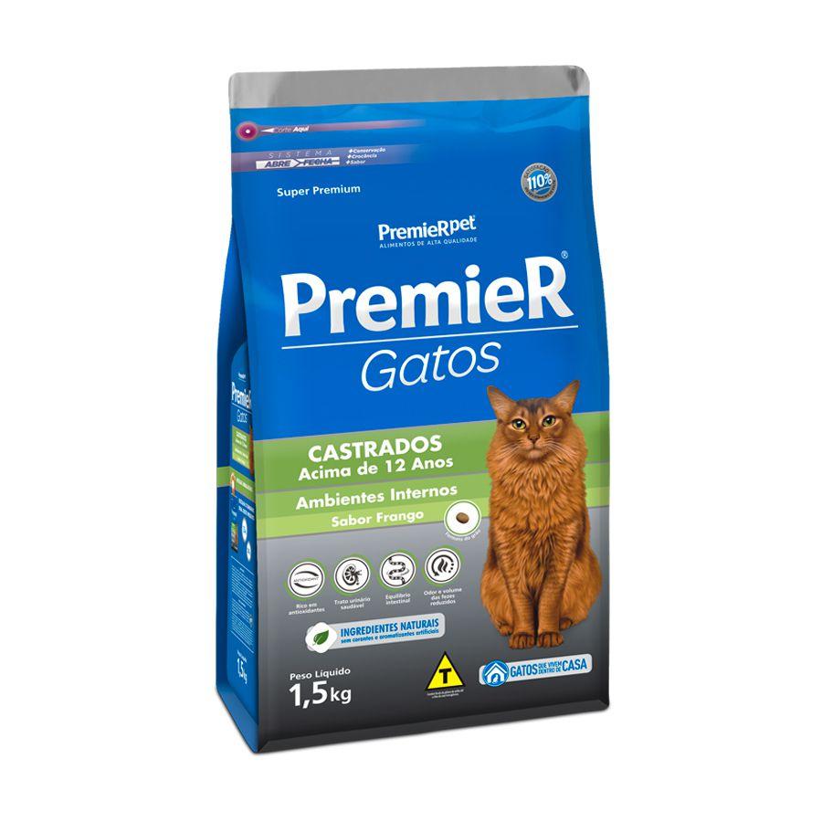 Ração Premier Pet Ambientes Internos Frango para Gatos Castrados com mais de 12 Anos de Idade