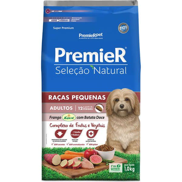 Ração Premier Pet Seleção Natural Frango Korin com Batata Doce para Cães Adultos de Raças Pequenas
