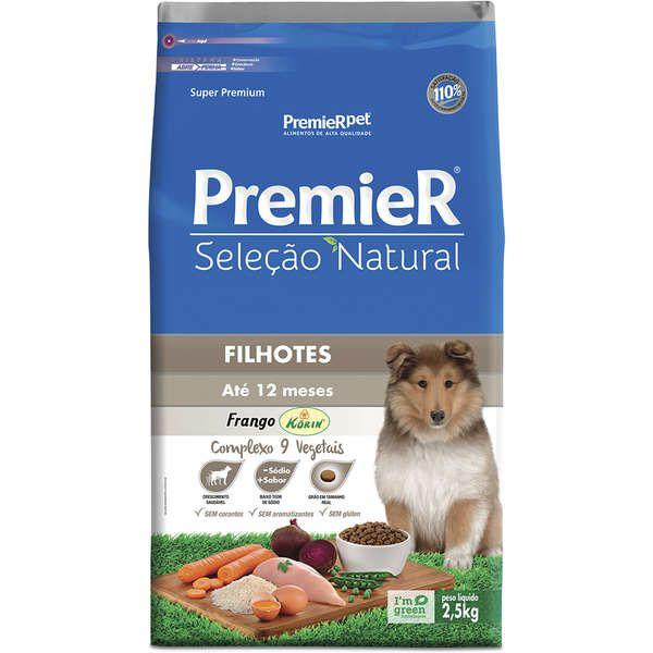 Ração Premier Seleção Natural Frango Korin e Vegetais para Cães Filhotes Até 12 Meses