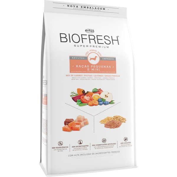 Ração Seca Biofresh Mix de Carne, Frutas, Legumes e Ervas Frescas Cães Castrados de Raças Pequenas e Minis