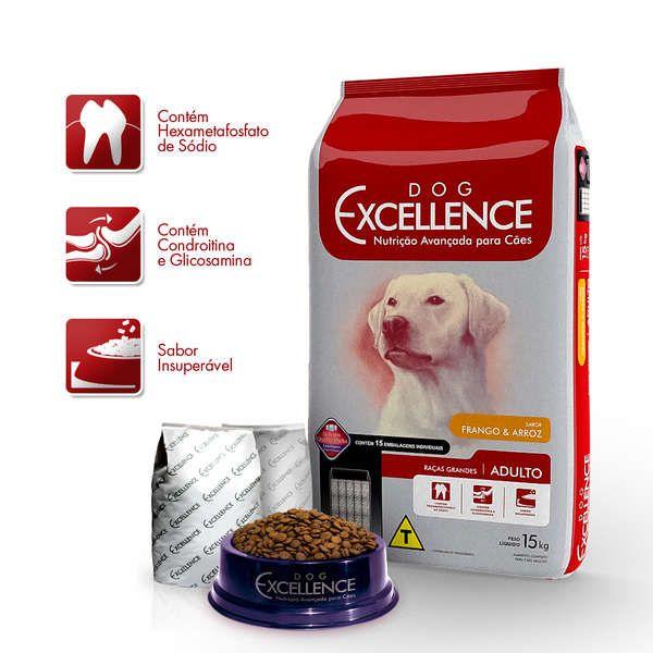 Ração Selecta Dog Excellence Cães Adultos Raças Grandes Frango e Arroz - 15 Kg