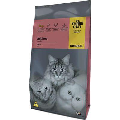 Ração Three Cats Original Sabor Carne para Gatos Adultos