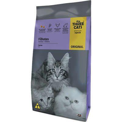 Ração Three Cats Original Sabor Carne para Gatos Filhotes