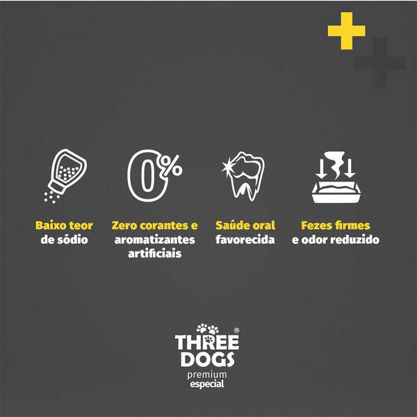 Ração Three Dogs Original Frango, Carne e Arroz para Cães Filhotes Raças Médias e Grandes