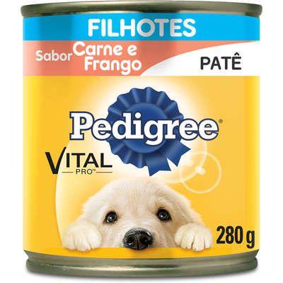Ração Úmida Pedigree Lata Patê de Carne e Frango para Cães Filhotes - 280 g