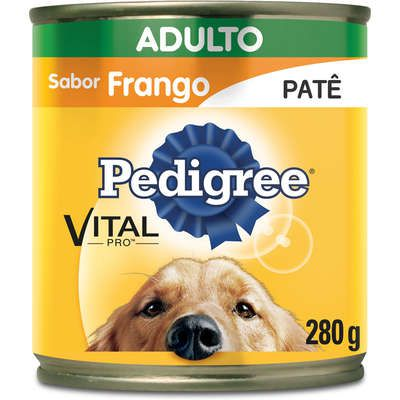 Ração Úmida Pedigree Lata Patê de Frango para Cães Adultos - 280 g