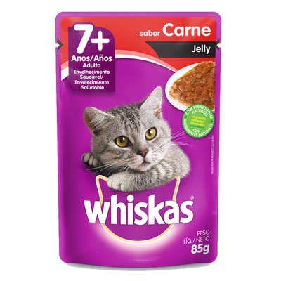 Ração Úmida Whiskas Sachê Carne Jelly para Gatos Adultos Sênior 7 + Anos