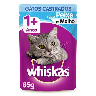 Ração Úmida Whiskas Sachê Peixe ao Molho para Gatos Adultos Castrados 85 g
