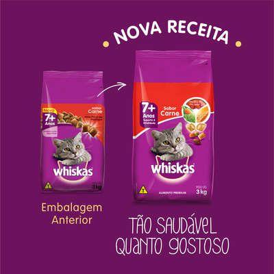 Ração Whiskas Carne 7+ Anos Gatos Adultos - 1 Kg
