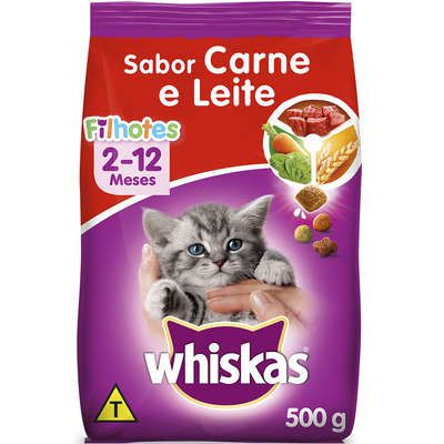 Ração Whiskas Carne e Leite para Gatos Filhotes