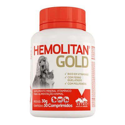 Suplemento Vetnil Hemolitan Gold - 30 Comprimidos