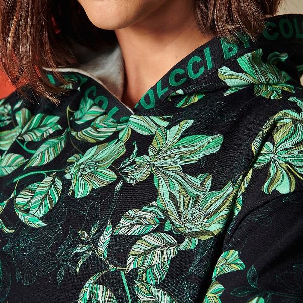 Blusão Moletom Colcci Estampado com Capuz Tropical Life Feminino