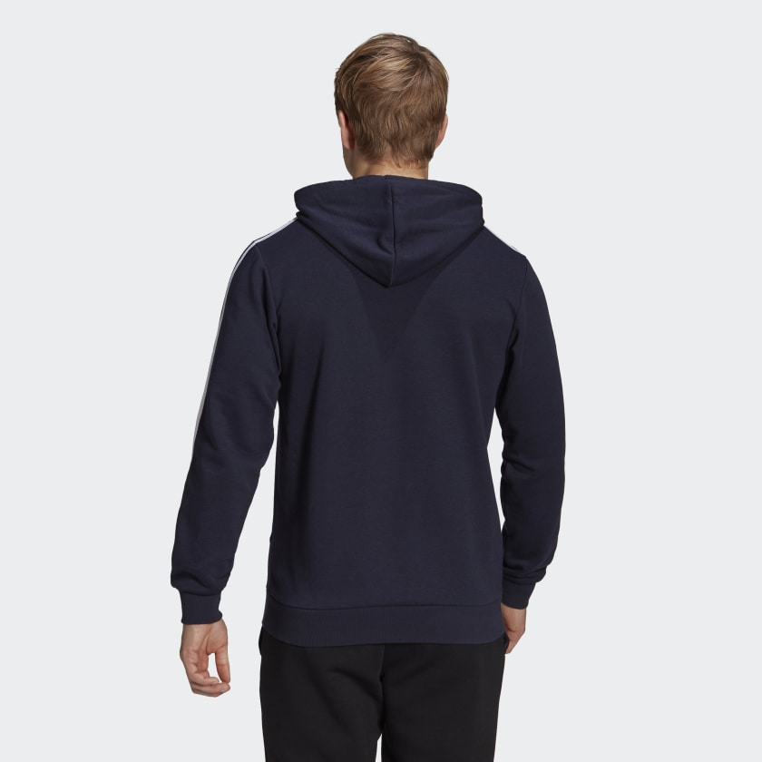 Blusão Moletom com Capuz Adidas Essentials 3 Stripes