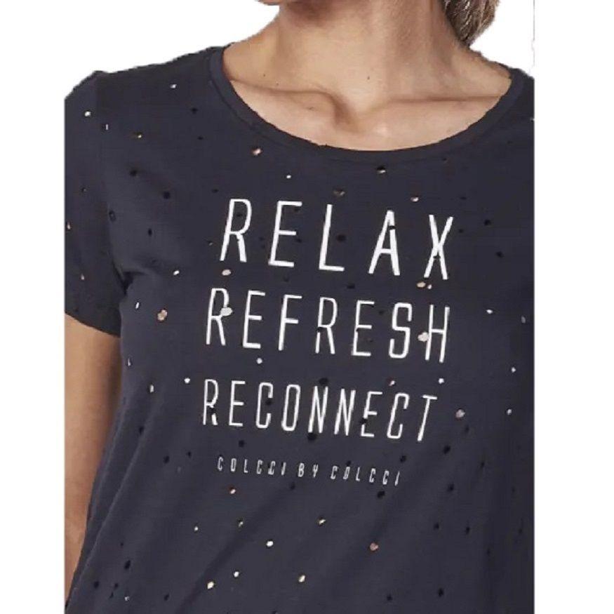 Camiseta Colcci Estampada Preta Feminina