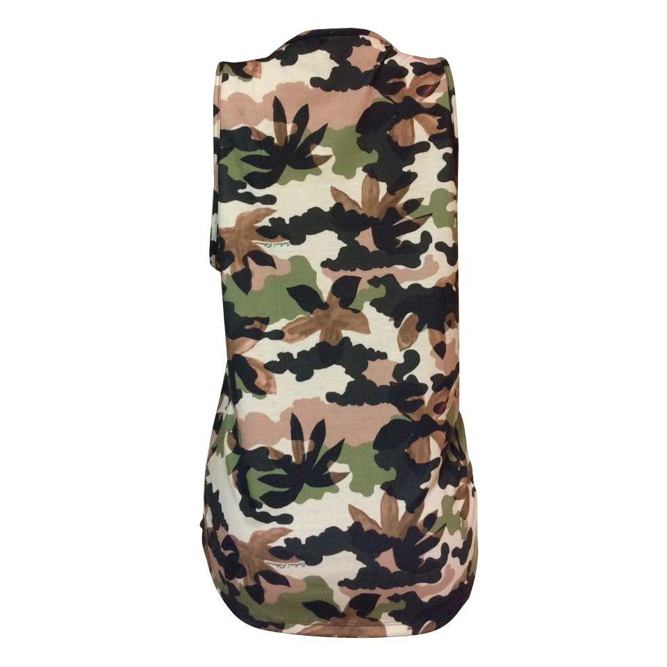 Regata Colcci Fitness Estampada Camuflado Army Feminina