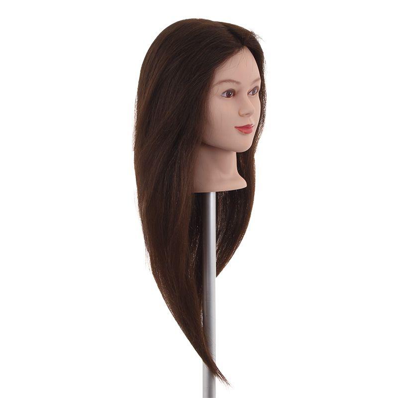 Cabeça de Boneca Feminina 70% Sintética e 30% Natural (Castanho Escuro) *Brinde Suporte de Mesa