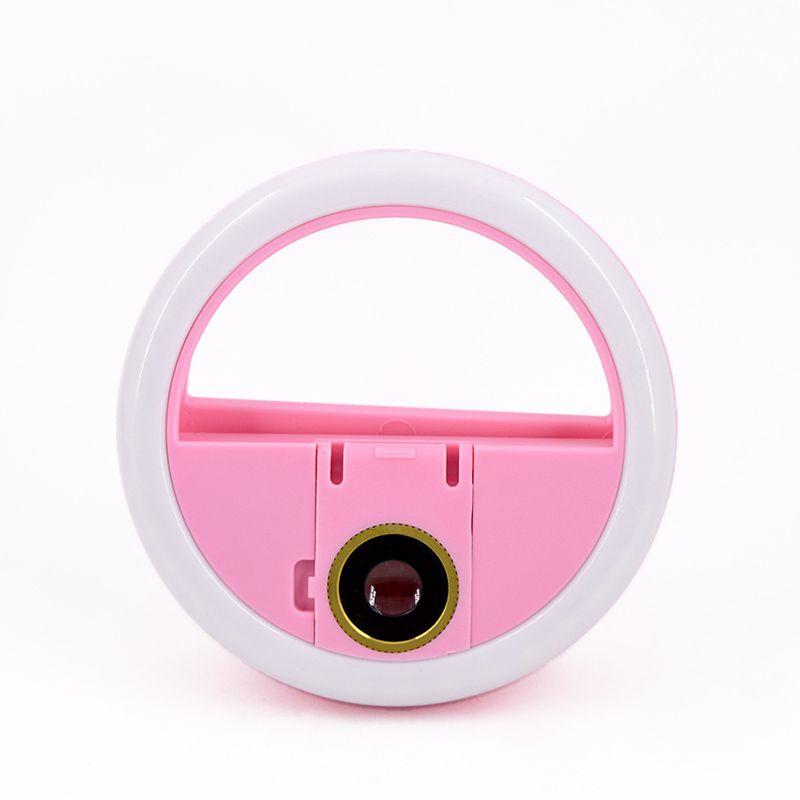 Mini Ring Light de Celular para Selfie Câmera Frontal e Traseira Com Lupa HK-09