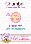 Papel offset chambril 180g/m² - A4 - 100 folhas