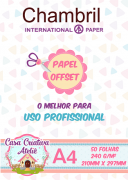 Papel offset chambril 240g/m² - A4 - 50 folhas