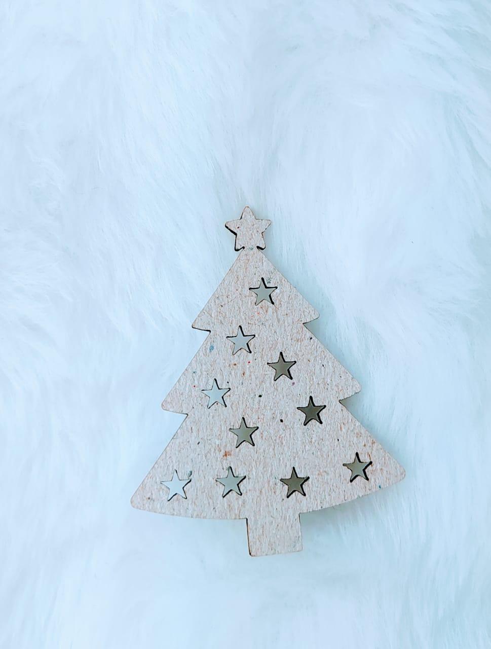 Aplique Árvore de Natal Chipboard - 5cm  c/ 10 peças