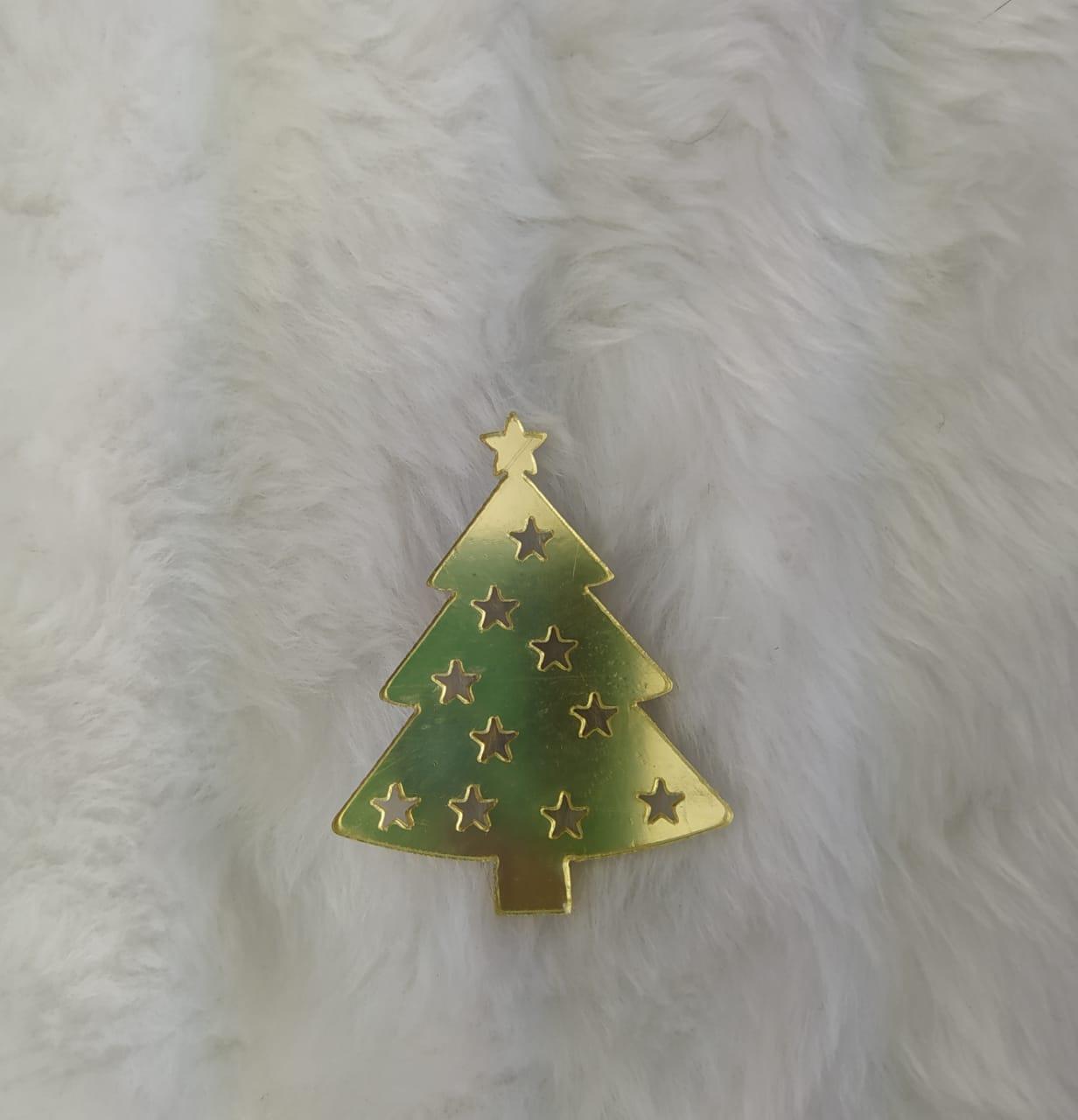 Aplique Árvore de Natal em Acrílico Espelhado - 7cm  c/ 10 peças