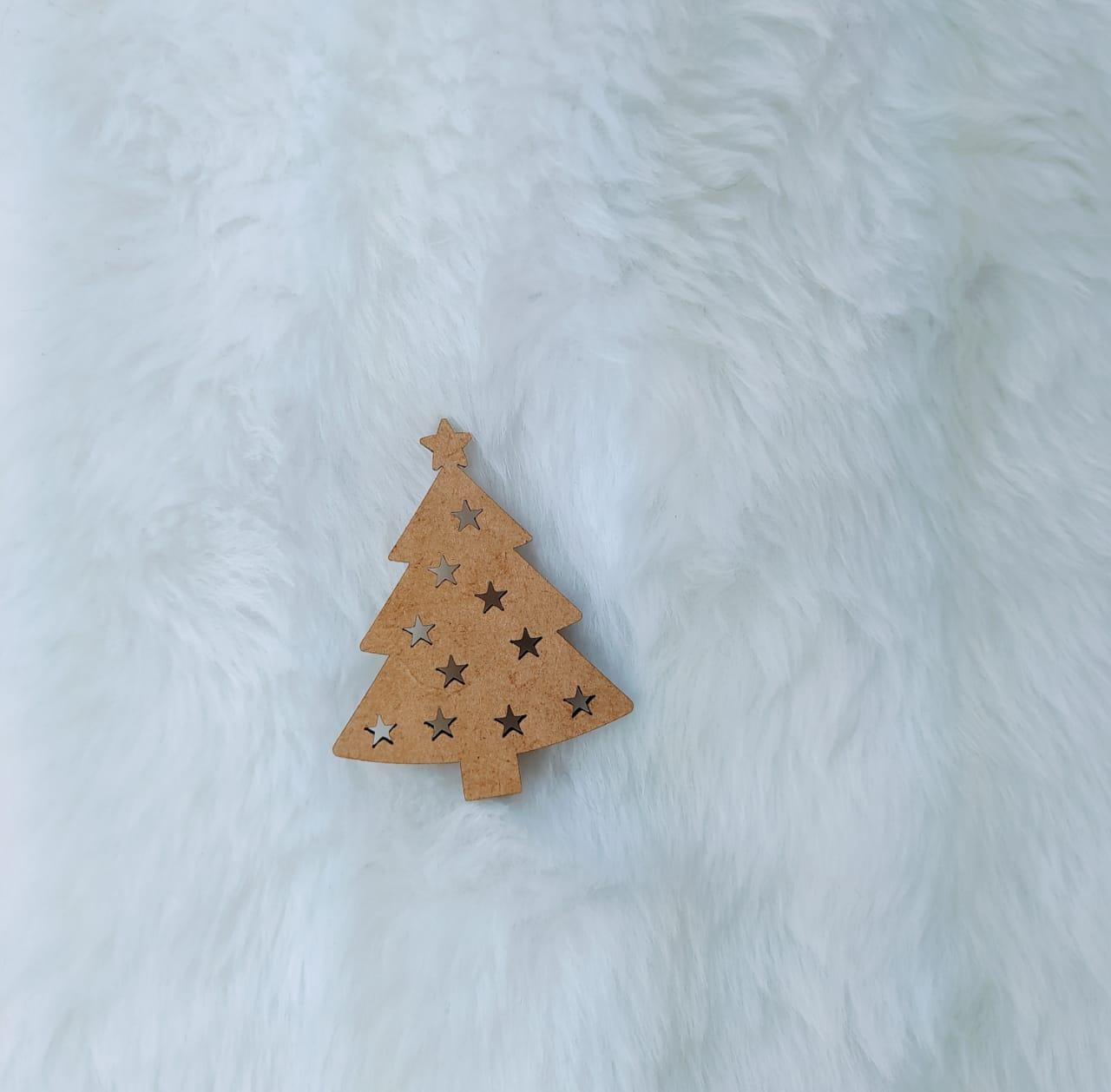 Aplique Árvore de Natal em MDF - 7cm  c/ 10 peças