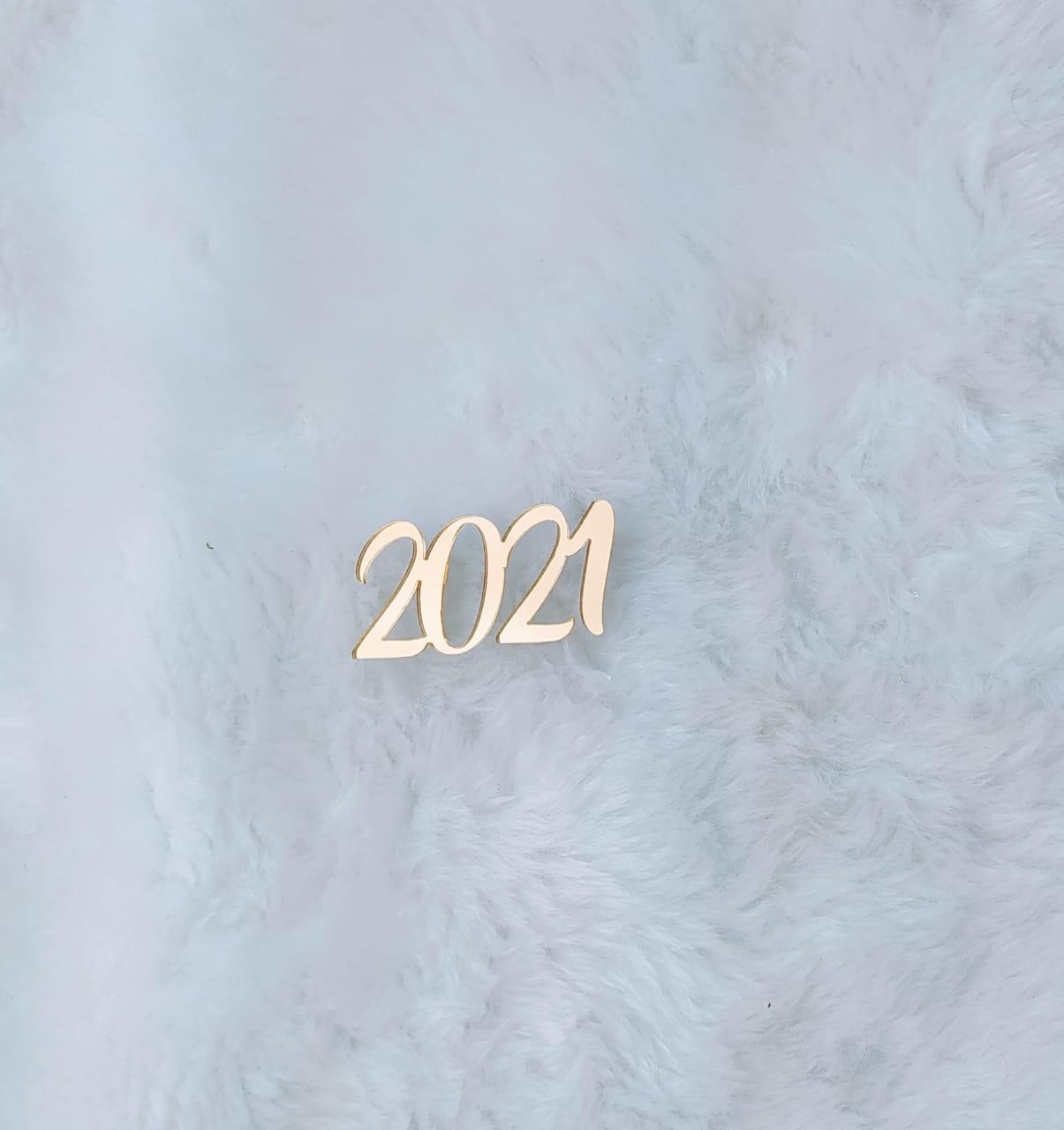 Aplique em acrílico espelhado - 2021 - 5cm - 10 peças - Natal