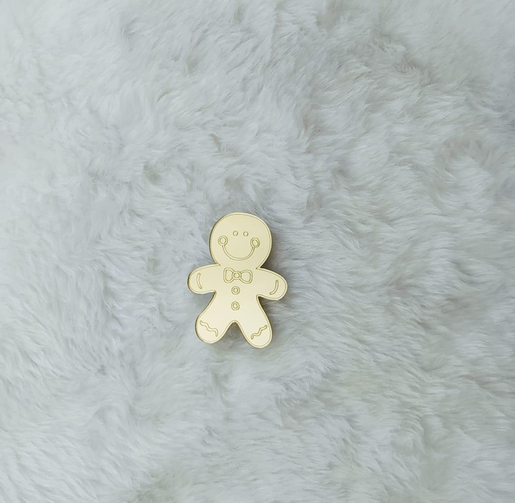Aplique em acrílico espelhado - Biscoito de gengibre - 7cm - c/ 10 unidades - Natal