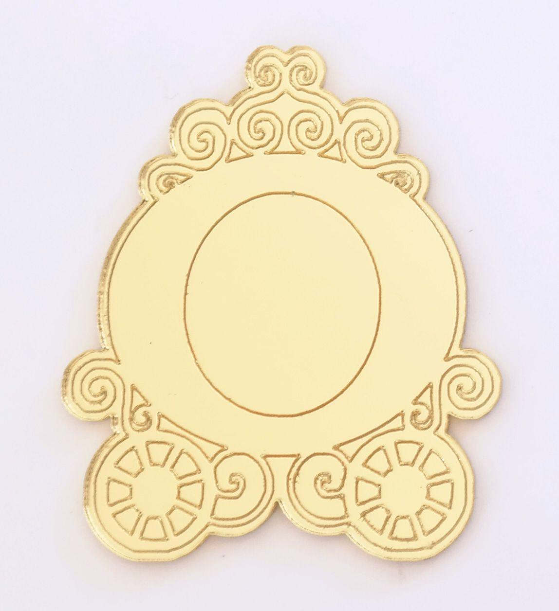Aplique em acrílico espelhado - Carruagem - 5cm - 10 peças
