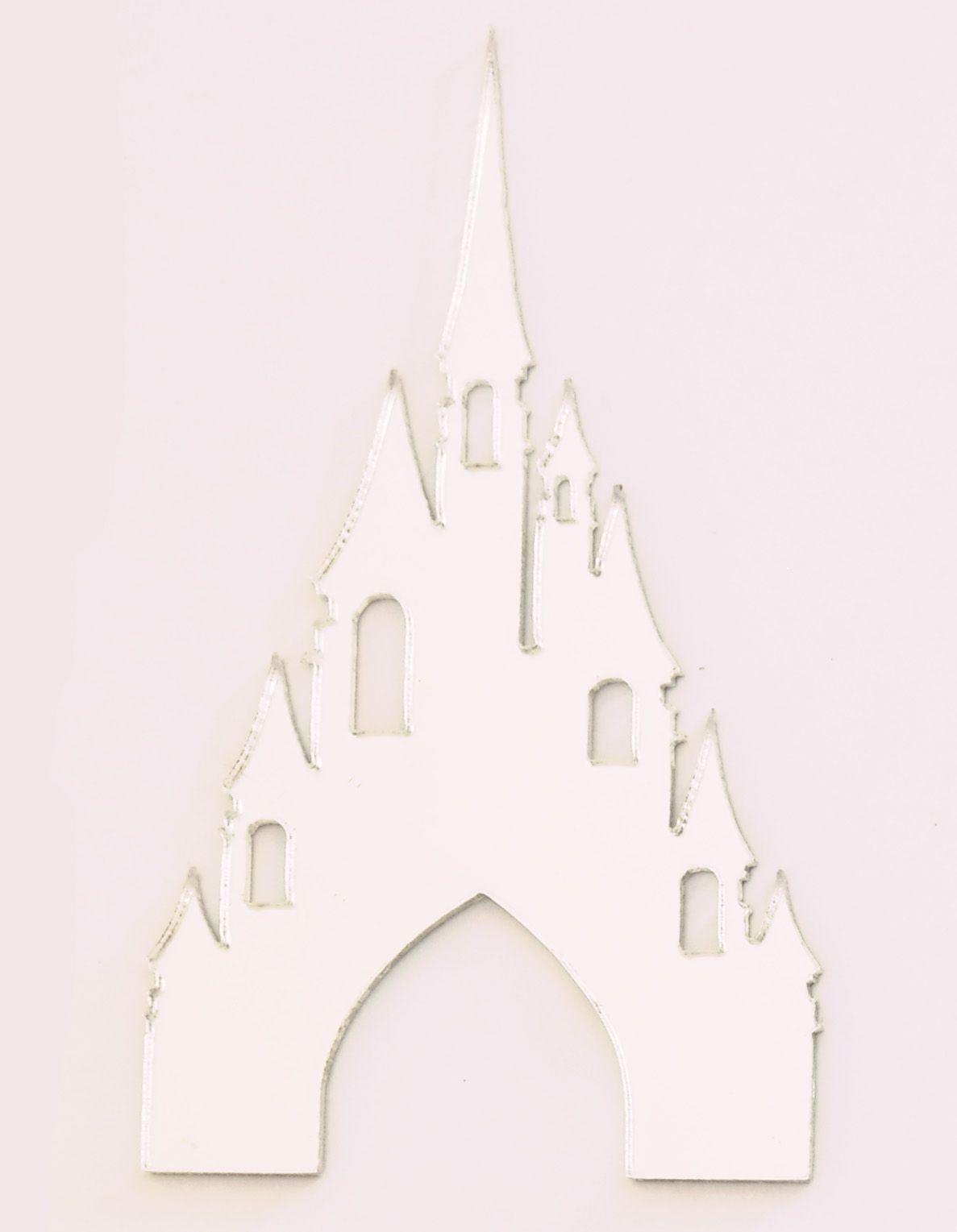 Aplique em acrílico espelhado - Castelo - 7cm - 10 peças