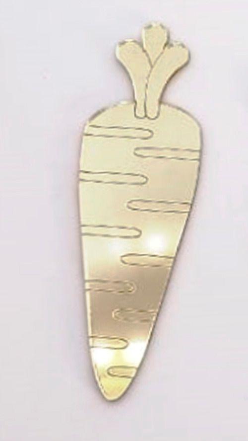 Aplique em acrílico espelhado - Cenoura 02 - 7cm - 10 peças - Páscoa