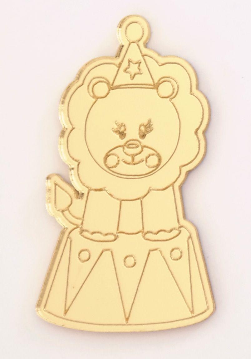 Aplique em acrílico espelhado - Circo Leão - 5cm - 10 peças