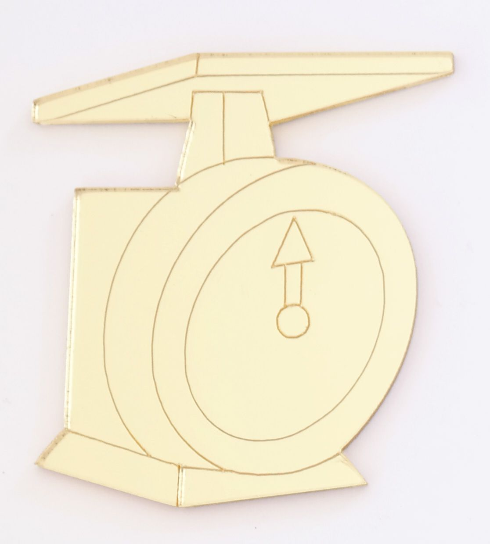 Aplique em acrílico espelhado - Confeitaria Balança - 5cm - 10 peças