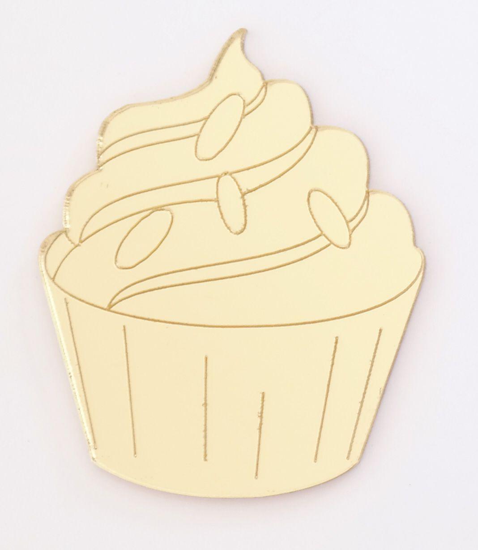 Aplique em acrílico espelhado - Confeitaria Cupcake - 5cm - 10 peças