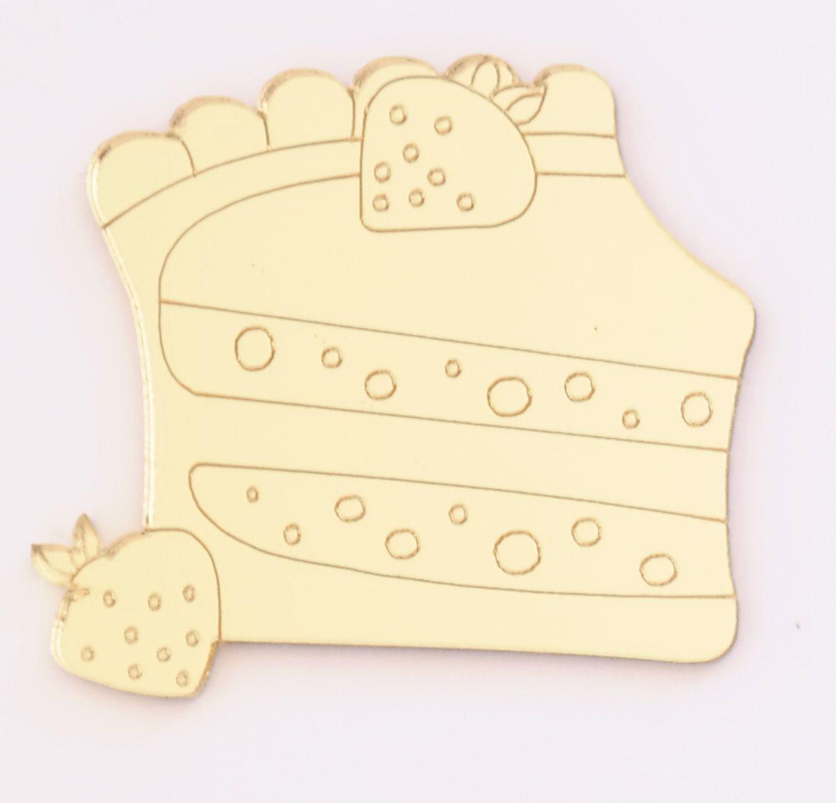 Aplique em acrílico espelhado - Confeitaria Pedaço de bolo - 5cm - 10 peças