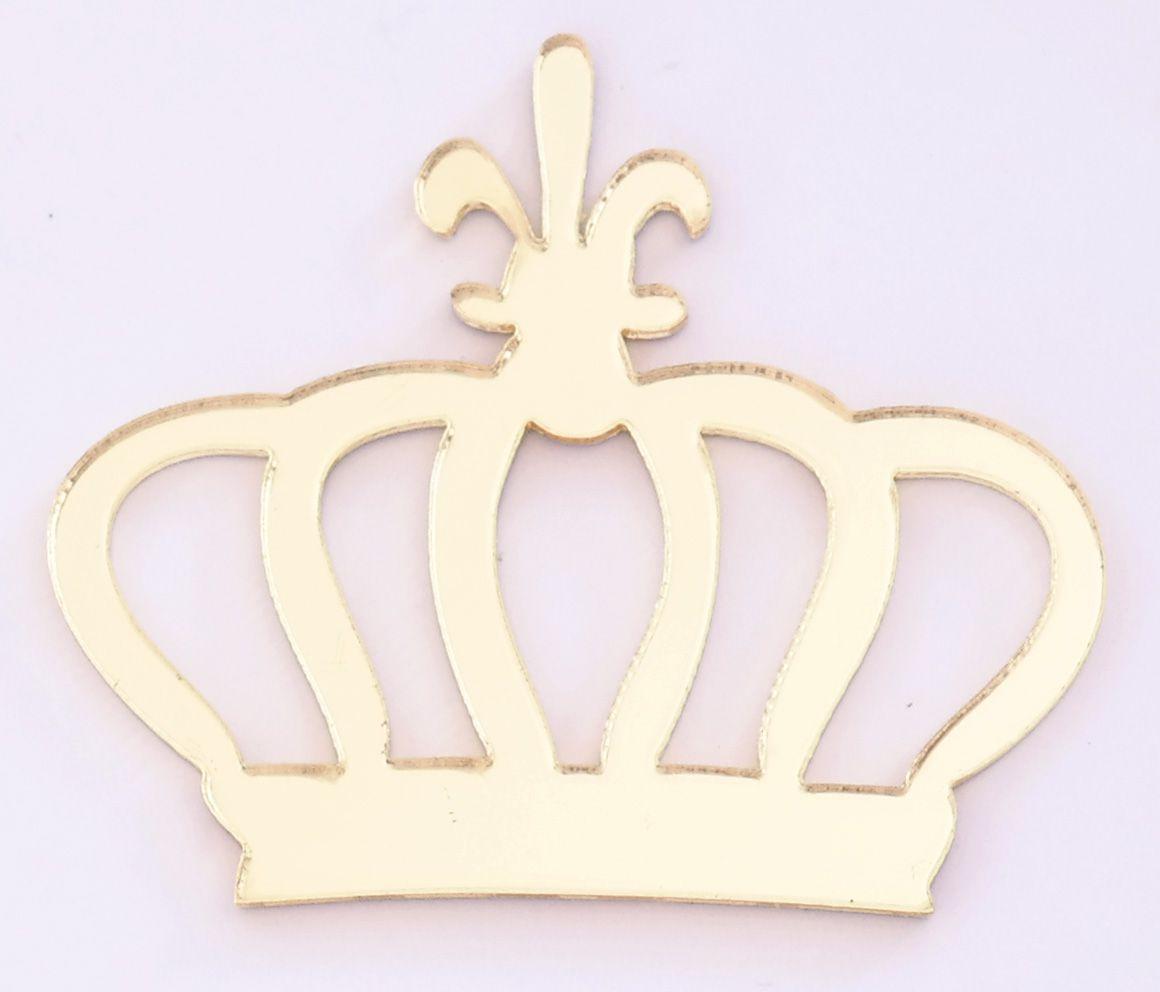Aplique em acrílico espelhado - Coroa 01 - 5cm - 10 peças