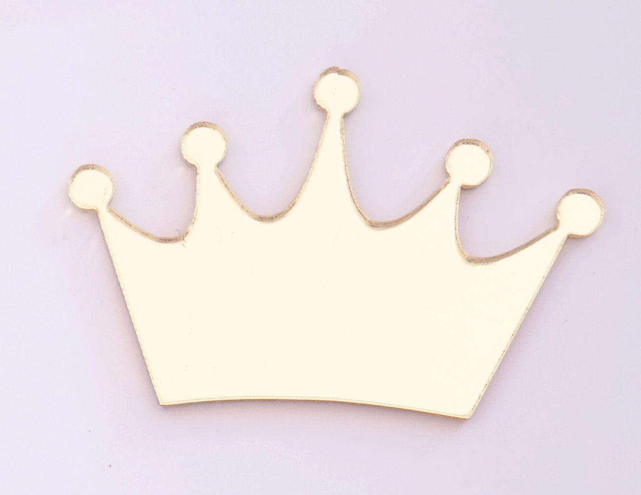 Aplique em acrílico espelhado - Coroa 02 - 5cm - 10 peças