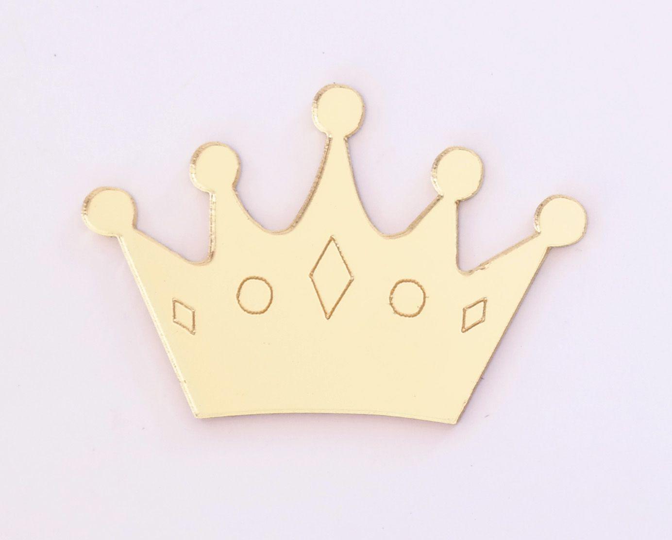 Aplique em acrílico espelhado - Coroa 03 - 5cm - 10 peças