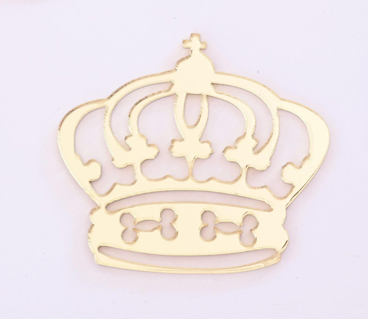 Aplique em acrílico espelhado - Coroa 04 - 5cm - 10 peças