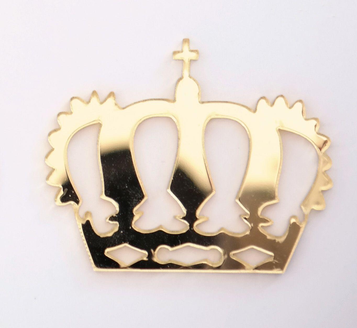 Aplique em acrílico espelhado - Coroa 05 - 5cm - 10 peças