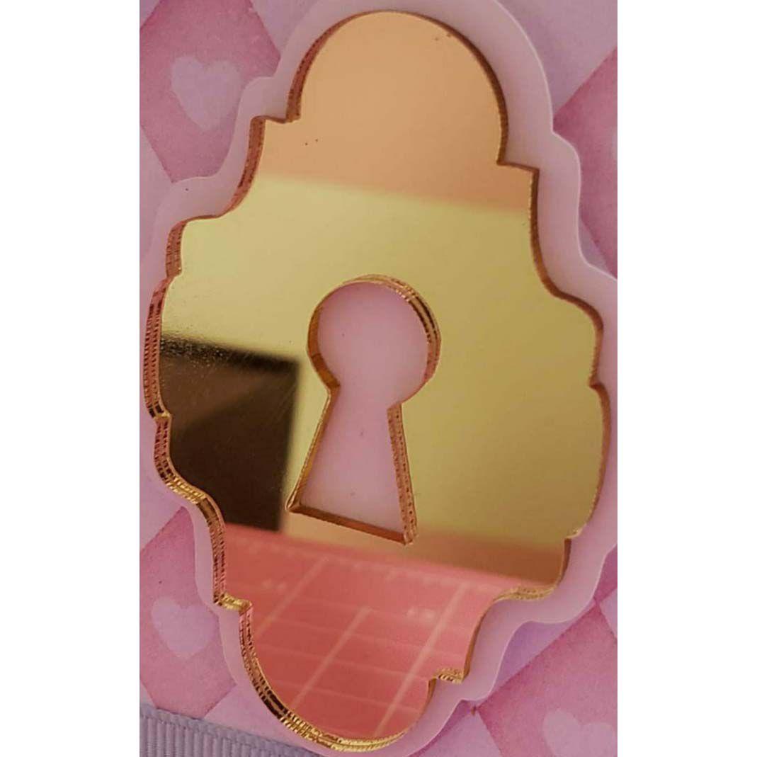 Aplique em acrílico espelhado - Fechadura - 6cm - 10 peças - Alice