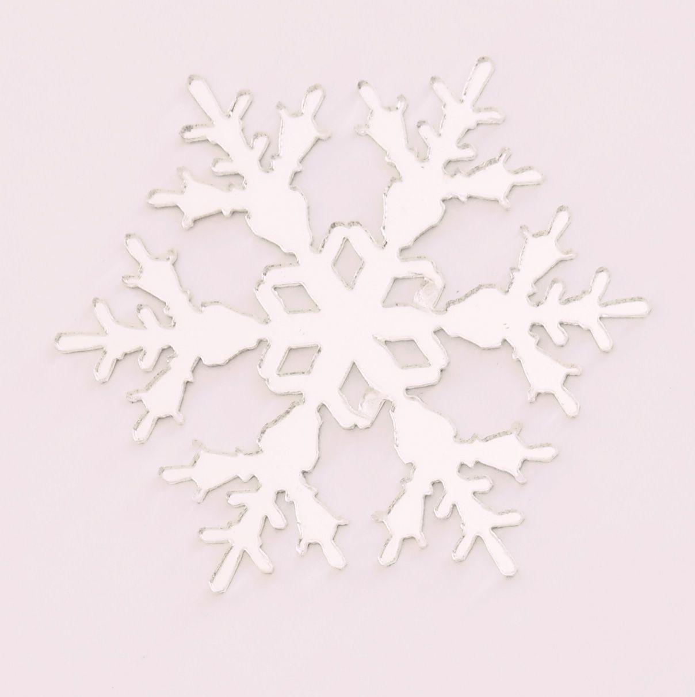 Aplique em acrílico espelhado - Floco de Neve 01 - 5cm - 10 peças - Natal