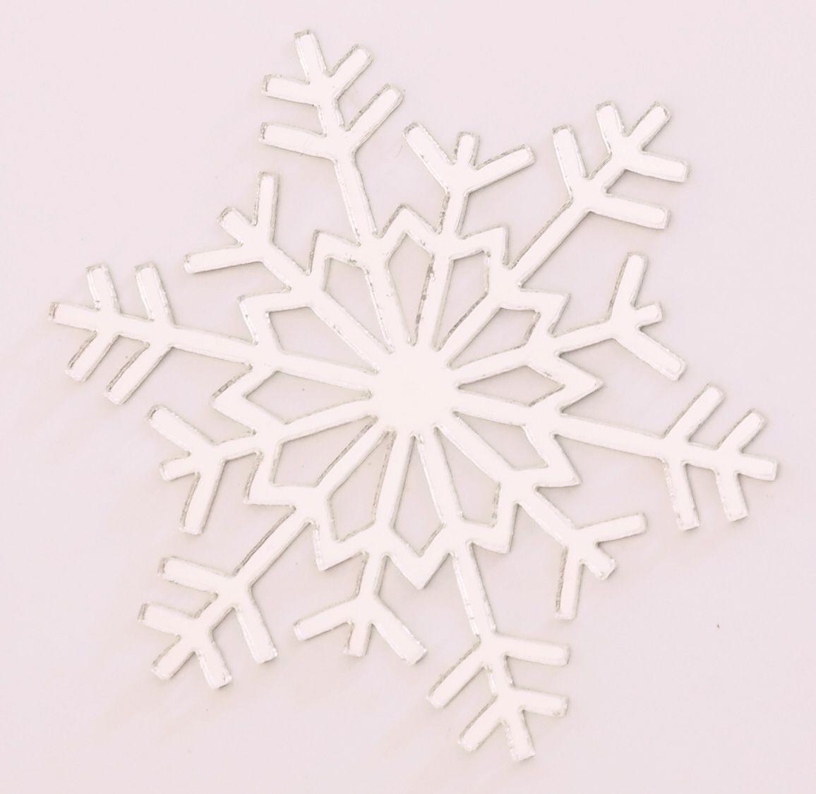 Aplique em acrílico espelhado - Floco de Neve 03 - 5cm - 10 peças